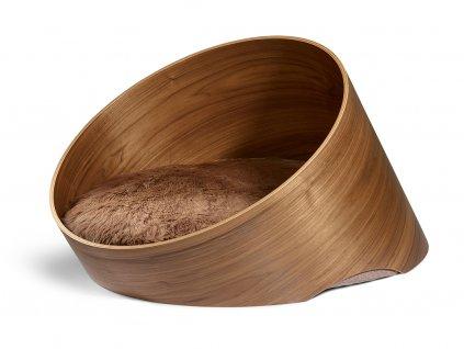 Designový dřevěný pelíšek pro psy MiaCara Covo ořech/taupe
