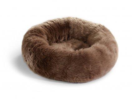 Pelíšek pro kočky MiaCara Lana hnědý s kožíškem