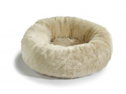 Pelíšek pro kočky MiaCara Lana ivory s kožíškem