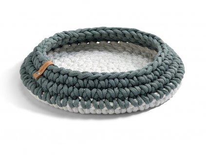 Pletený pelíšek pro kočky MiaCara Nido šedý