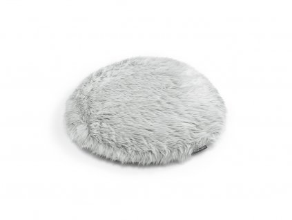 Polštář pro kočky MiaCara Lana stříbrný s kožíškem