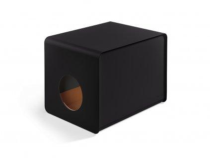 Designová kovová toaleta pro kočky MiaCara Sito černá