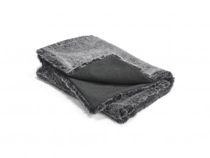 Luxusní deka pro psy MiaCara Felpa antracit s kožíškem