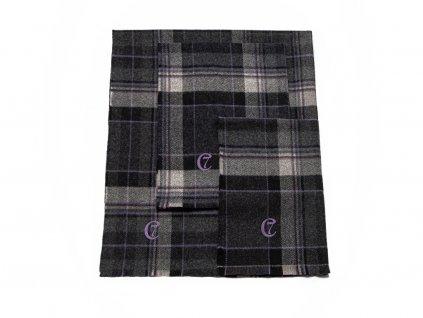 Luxusní deka pro psa Cloud7 Scottish kostkovaná černá merino vlna černá