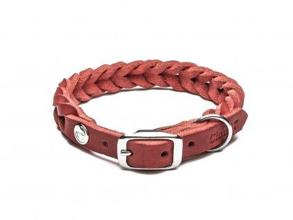 Luxusní kožený pletený obojek pro psa Cloud7 Central Park růžový