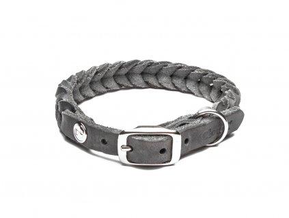 Luxusní kožený pletený obojek pro psa Cloud7 Central Park šedý
