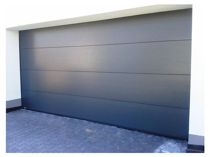 Akce Kružík garážová sekční vrata typ PLUS FLAT šířky 3000 mm a výšky 2500 mm + stropní pohon vrata dekor bílá RAL 9010 hladký a RAL 7016  (Barva Ral 7016 Hladký , Ral 9010 bílá Hladký,)