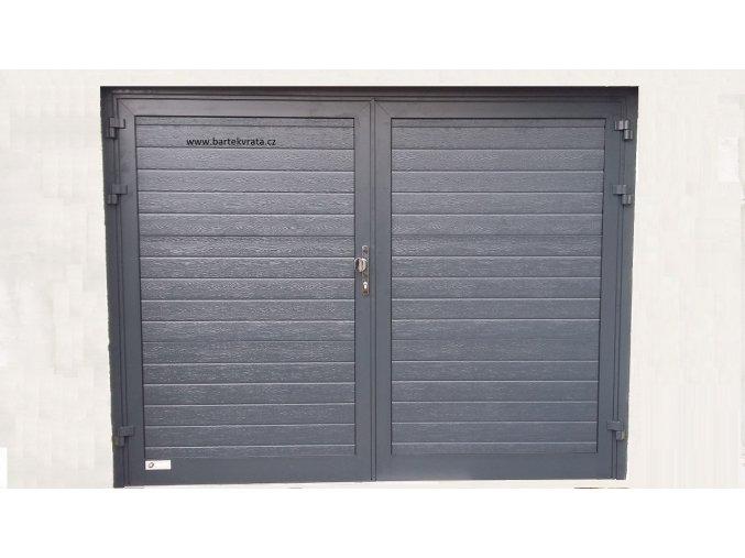 Dvoukřídlá hliníková garážová vrata Kružík STANDART barva Ral 7016 Antracit šířky 2375x2000 a 2500x2000 (Barva RAL 7016 antracit,)