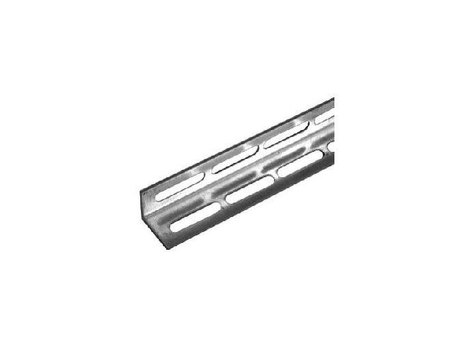 Montážní úhelník zinkovaný děrovaný pro garážová vrata délka 2,5 m