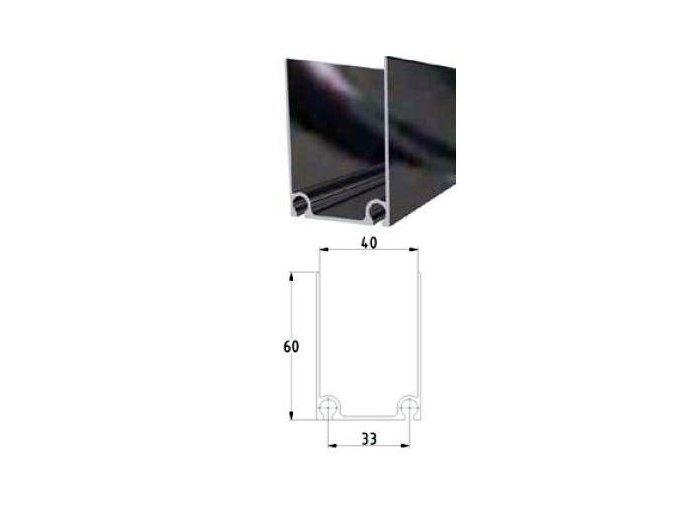 Alu profil horní 43 x 60 x 2 mm vysoký pro sekční garážová vrata lakovaný černý