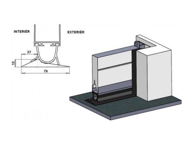 Hörmann - Práh proti přívalovému dešti set do 3000 mm/ sada obsahuje práh,lepidlo,spojovací material