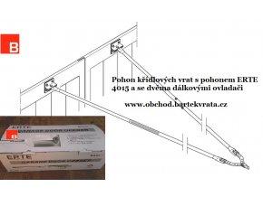 Pohon dvoukřídlých garážových vrat ERTE 4015 nylon řemen+adaptér křídlových vrat-neodpružený pro křídlová vrata+2 kusy dálkových ovladačů ZDARMA    (Barva zinek galvanický,)