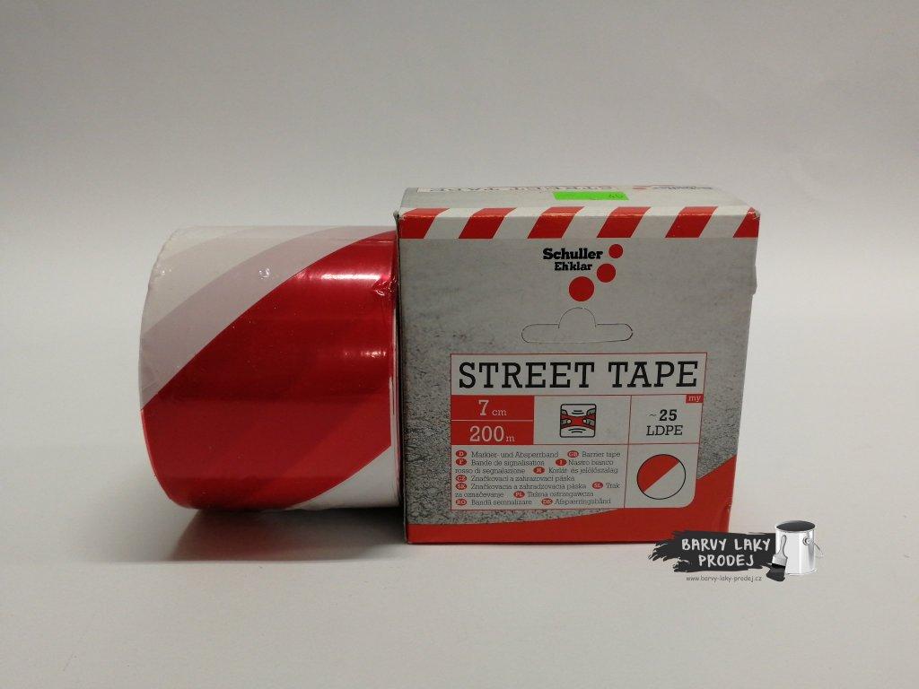 Páska značkovací 7cm x 200bm, červenobílá