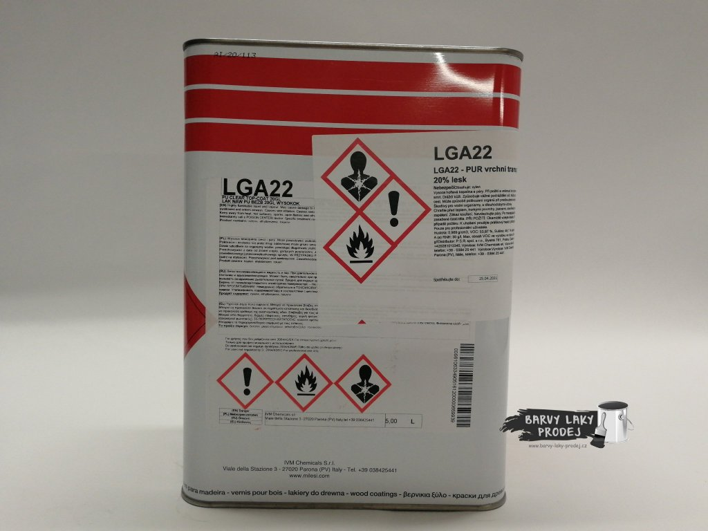 Lak LGA 22/20 *5*L vrchní lak transparentní, polyuretan