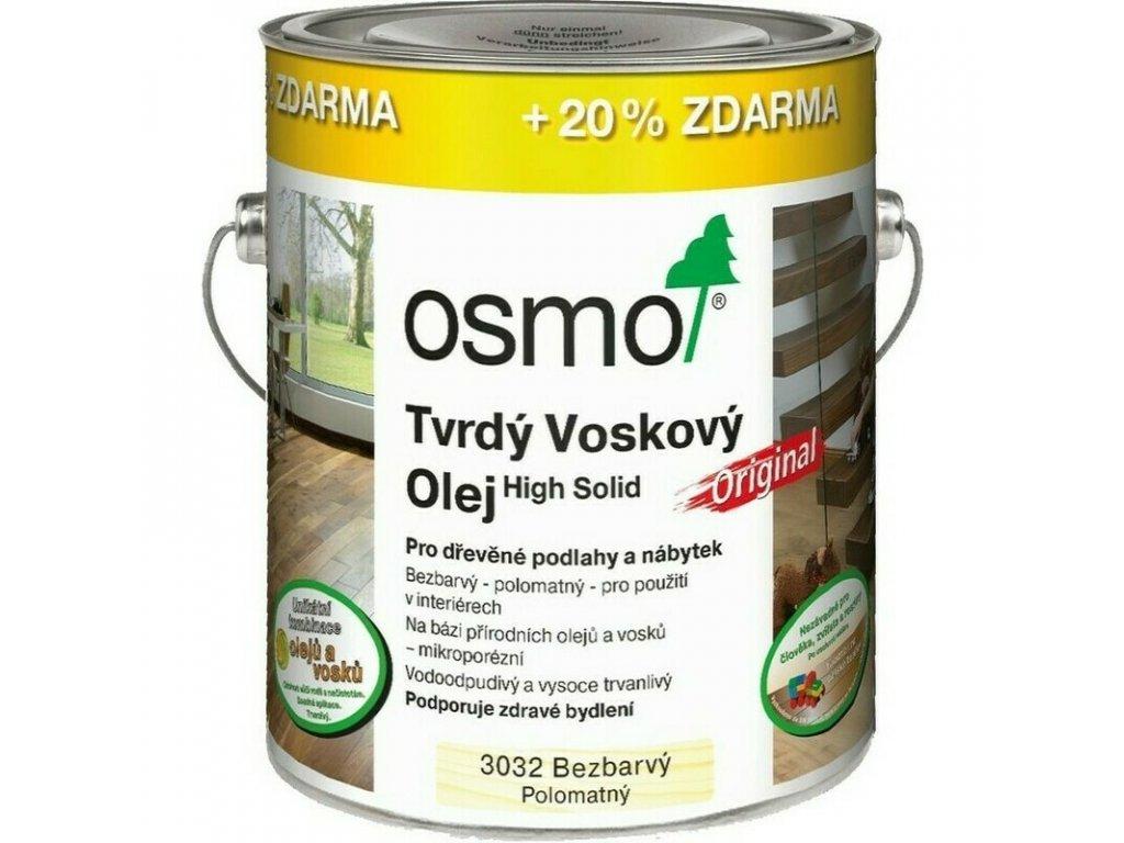 Osmo tvrdý voskový olej ORIGINAL 3L BEZBARVÁ, hedváb. polomat 3032  + dárek v hodnotě až 250 Kč k objednávce