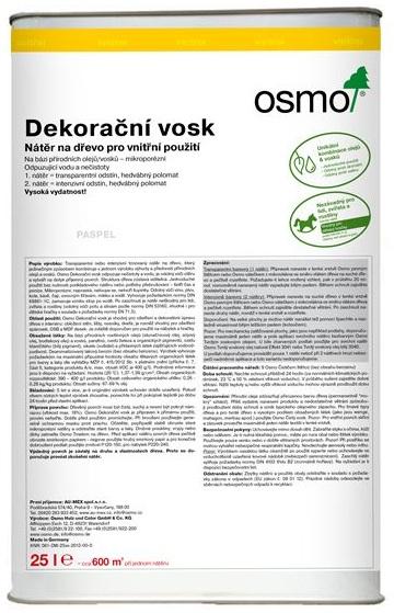 Osmo dekorační vosk transparentní 25l BEZBARVÁ 3101