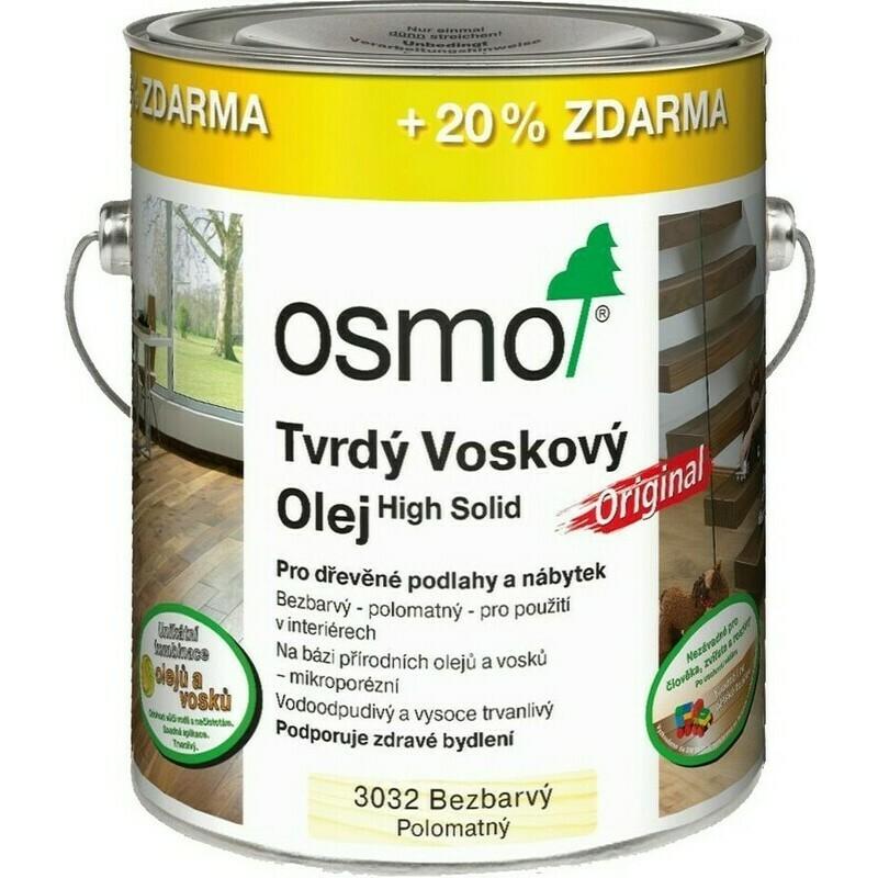 Osmo tvrdý voskový olej ORIGINAL 3l BEZBARVÁ, hedváb. polomat 3032