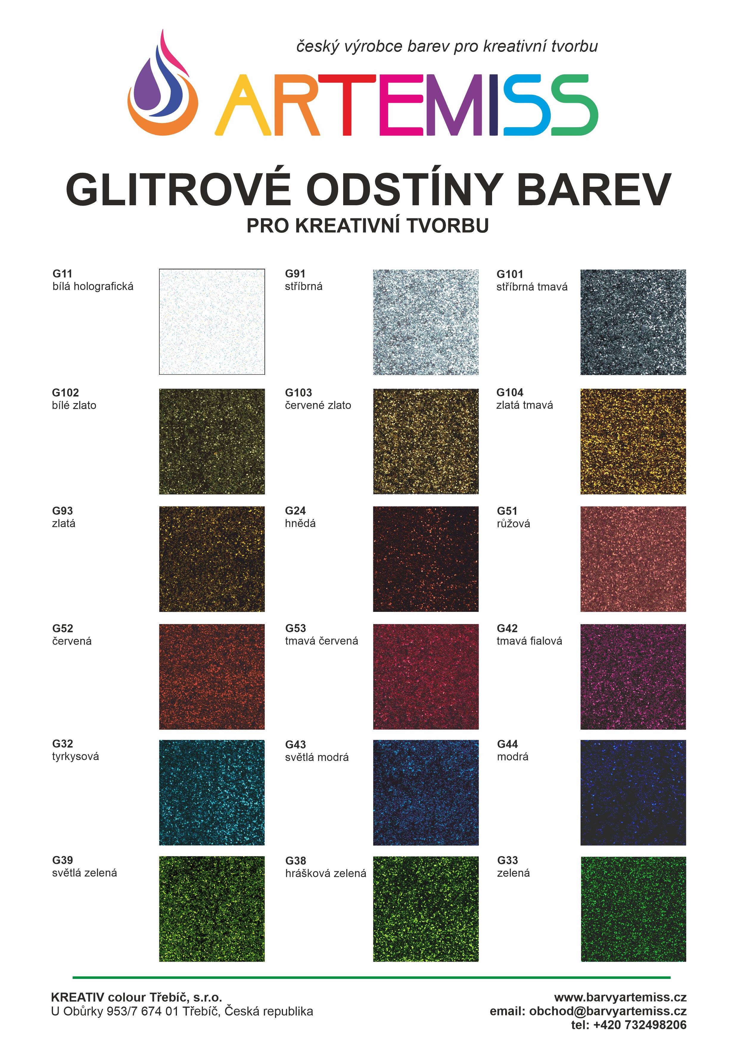 Vzorník glitrových barrev