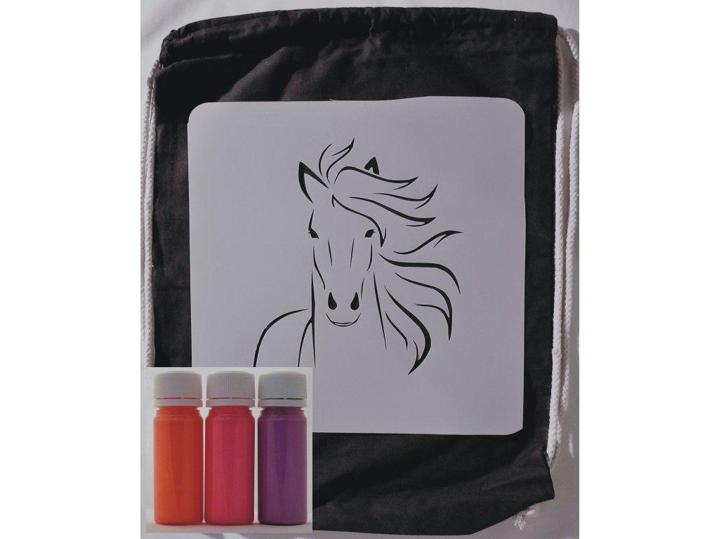 batoh kůň oranžová červená fialová