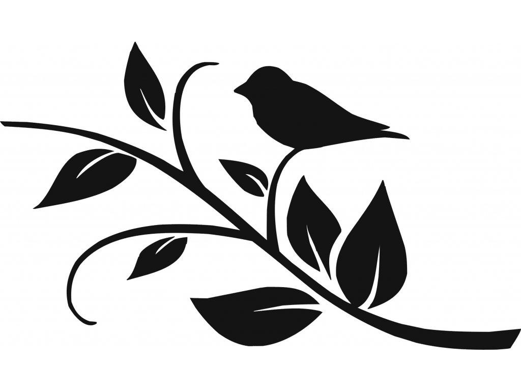 Ptáček na větvičce - plastová šablona 271