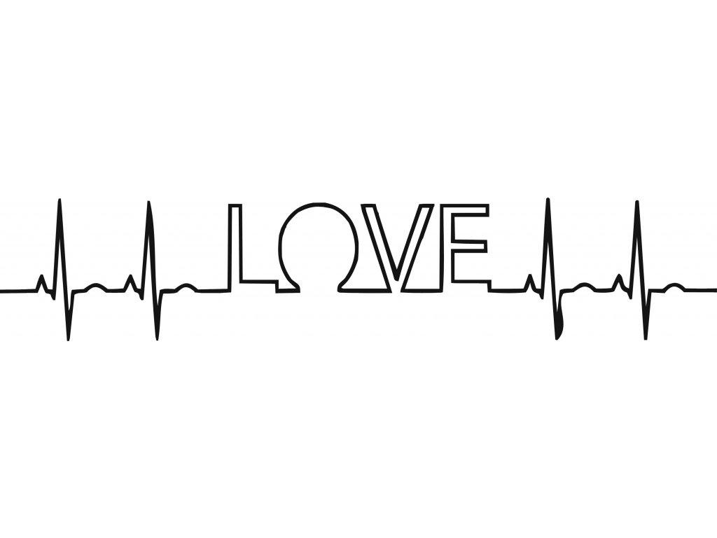EKG nápis LOVE - plastová šablona 281
