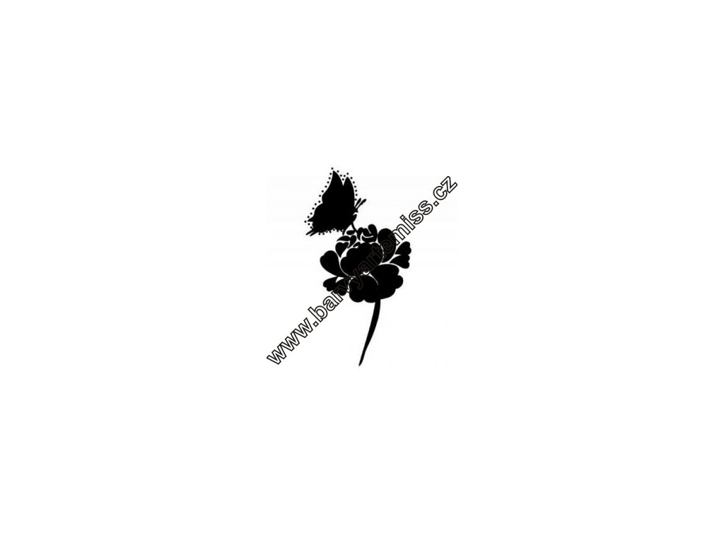 Motýl na růži - plastová šablona 005