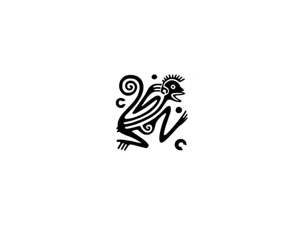 Opice ornament - plastová šablona 019