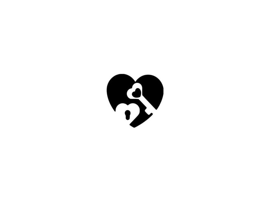 Srdce s klíčem - plastová šablona 122