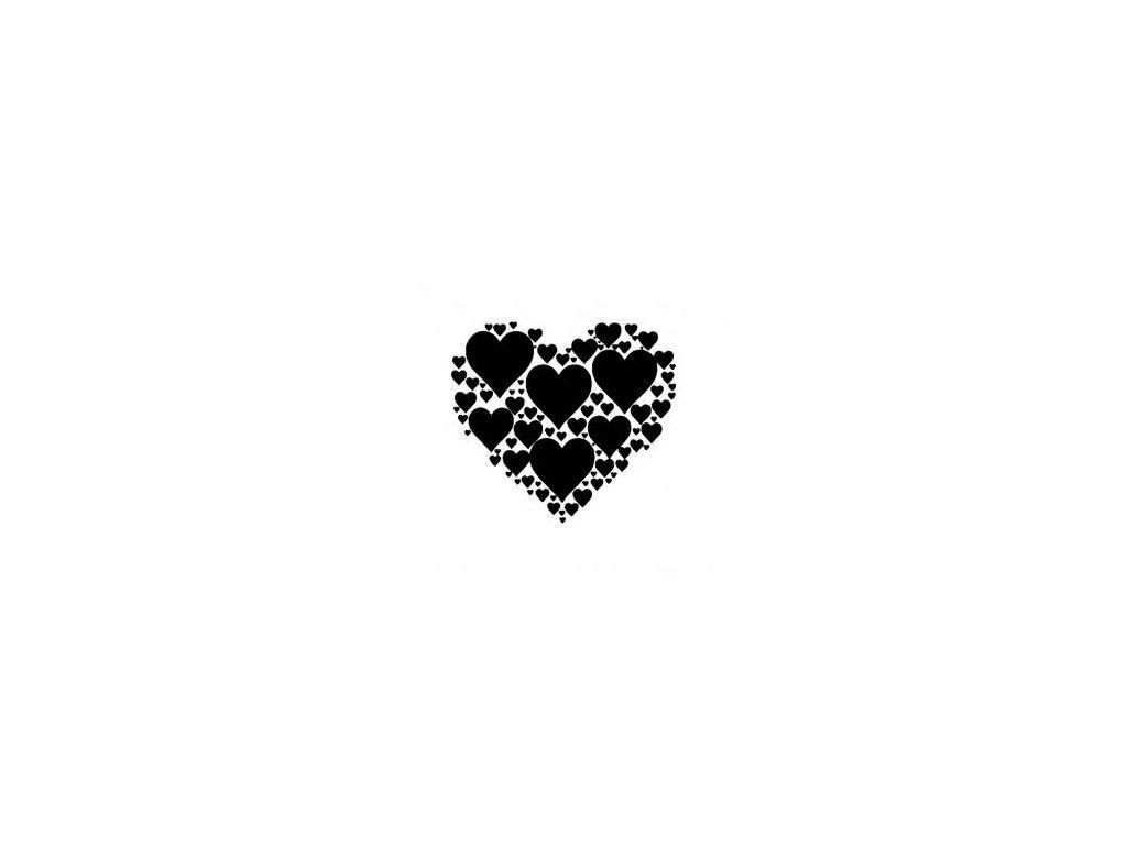 Srdce ze srdíček - plastová šablona 176