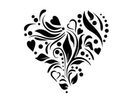 Květinové srdce - plastová šablona 090