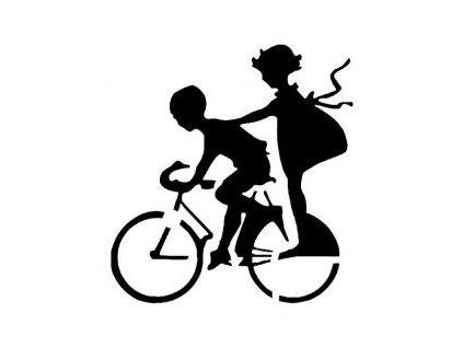Děti na kole - plastová šablona 211