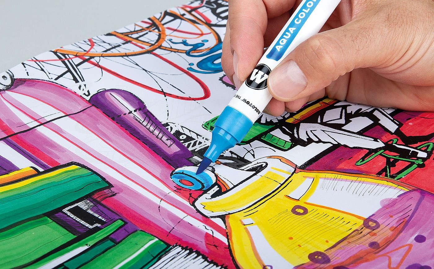 Molotow Aqua color brush - štětcové fixy