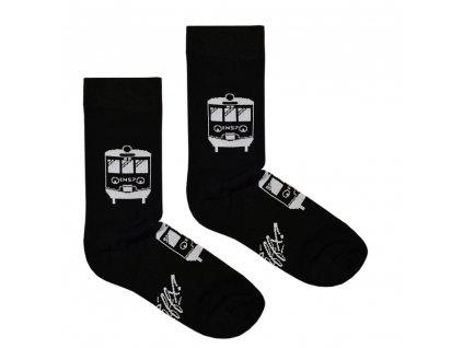 Ponožky EN-57 vlak - černé  Froté