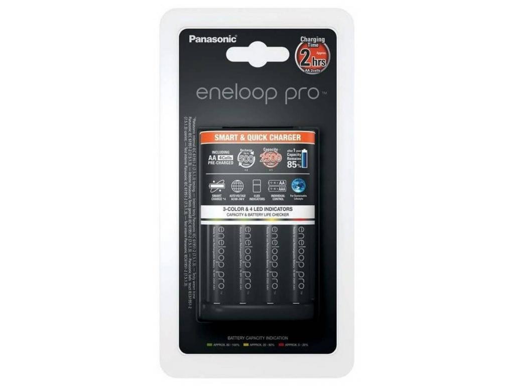 Panasonic rýchlonabíjačka BQ-CC55 + 4x akumulátory Panasonic eneloop pro 2500 mAh BK-3HCDE/4BE