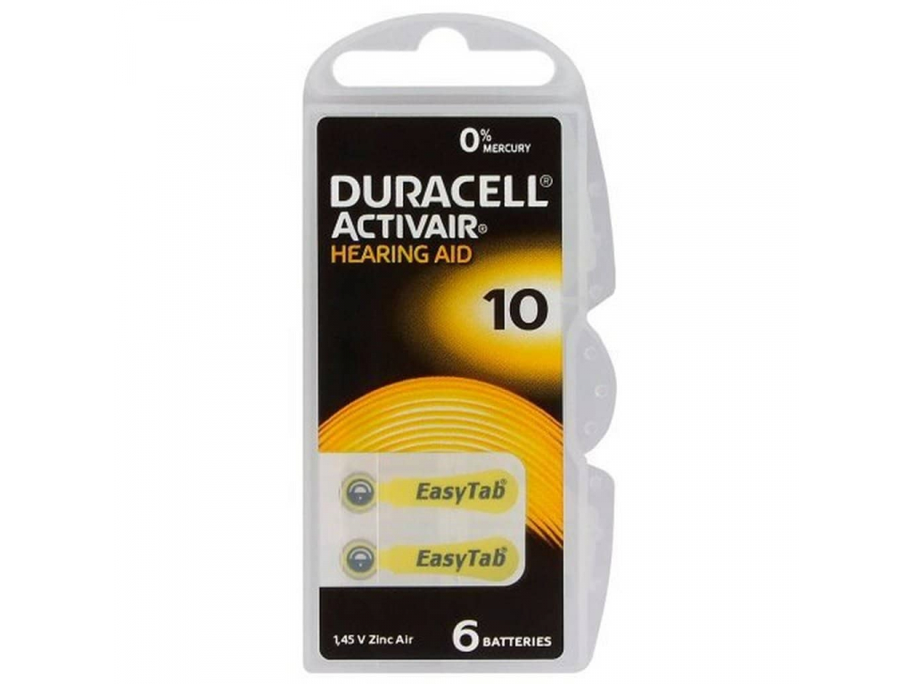 Duracell Activair 10 batérie do načúvacích prístrojov 6 ks