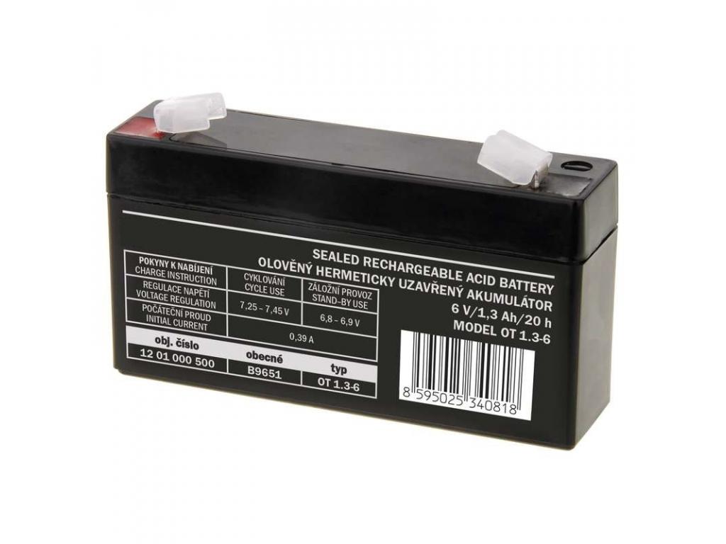 Akumulátor olovený 6V 1,3 Ah, AGM