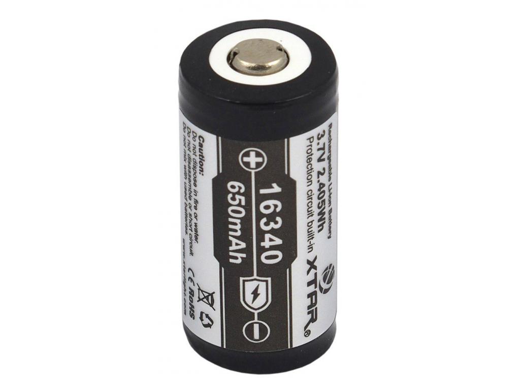 Batéria nabíjacia li-ion RCR123A, CR123, 16340 Xtar 650 mAh 3.7V