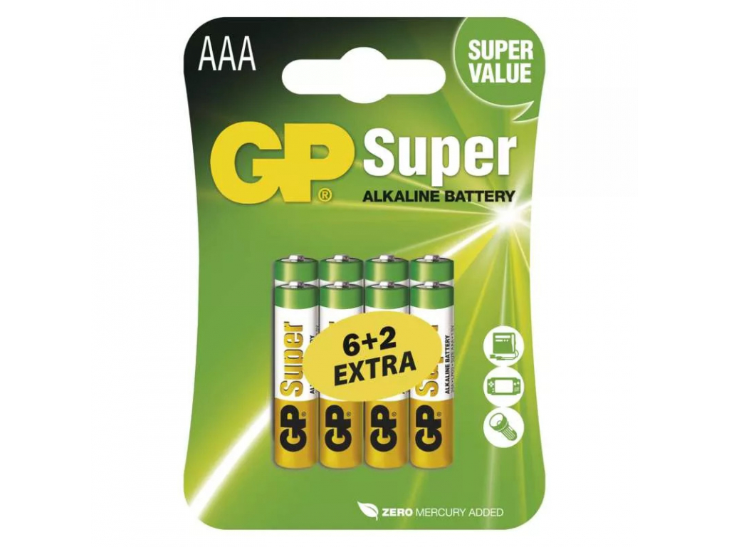 Baterie GP Super Alkaline AAA R03 8 ks