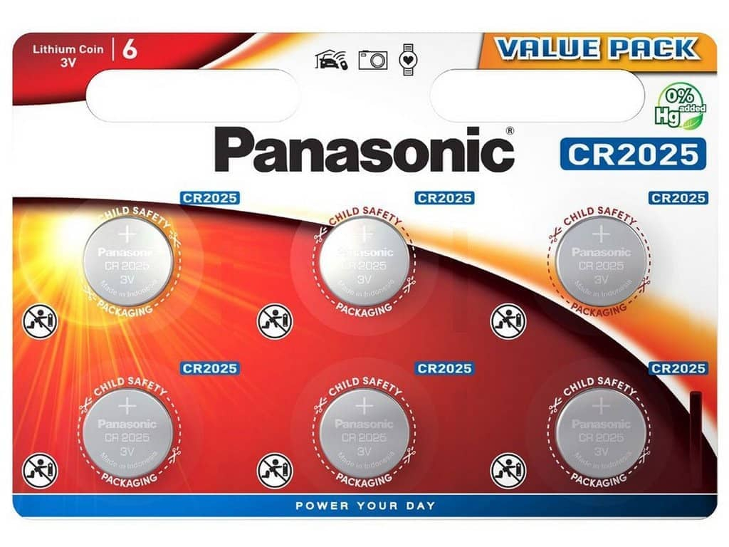 Batéria Panasonic CR2025 6 ks