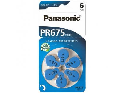 Batérie do načúvacích prístrojov 6 ks Panasonic 675 / PR675 / PR44