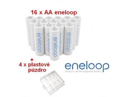 Panasonic akumulátory eneloop AA 1900 mAh tužkové 16 ks + 4 x púzdro na batérie ZDARMA