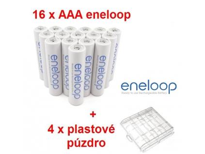 Panasonic akumulátory eneloop AAA 750 mAh mikrotužkové 16 ks + 4 x púzdro na batérie ZADARMO