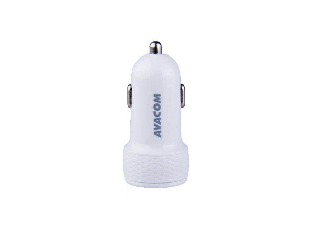 AVACOM nabíječka do auta 5V/3,1A se dvěma USB výstupy, USB - USB-C kabel, bílá barva