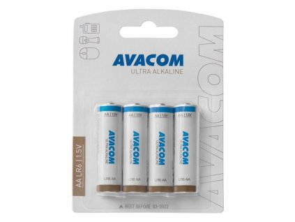 Nenabíjecí baterie AA LR6 AVACOM Ultra Alkaline 4ks Blistr