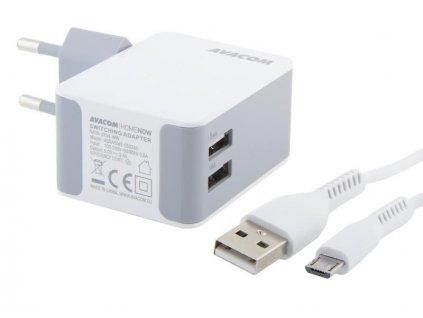 AVACOM HomeNOW síťová nabíječka 3,4A se dvěma výstupy, bílá barva (micro USB kabel)