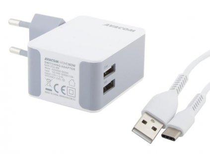 AVACOM HomeNOW síťová nabíječka 3,4A se dvěma výstupy, bílá barva (USB-C kabel)