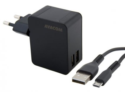 AVACOM HomeNOW síťová nabíječka 3,4A se dvěma výstupy, černá barva (micro USB kabel)