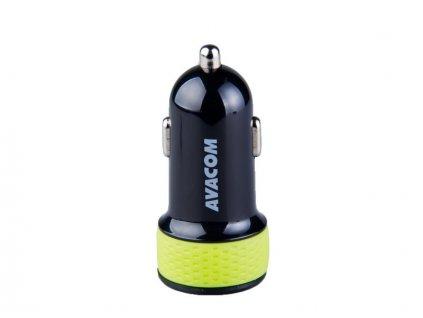 AVACOM nabíječka do auta se dvěma USB výstupy 5V/1A - 3,1A, černo-zelená barva