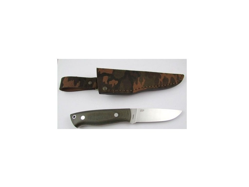 EnZo Trapper 95 N690Co/F Knife/ Green Canvas Micarta / Camo