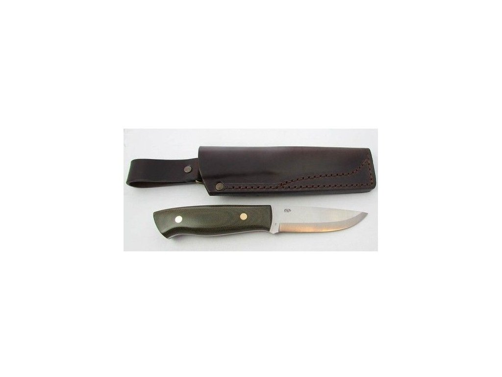EnZo Trapper 95 D2 Knife/ Green Canvas Micarta